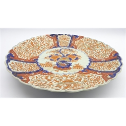 Japanese Imari charger decorated in orange, blue and gilt with panels of flowers D47cms