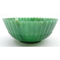 Chinese green hard stone bowl of fluted circular design D13cms