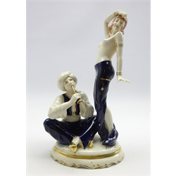 Royal Dux model of a Snake Charmer and Dancer no. 11/3037 H30cm