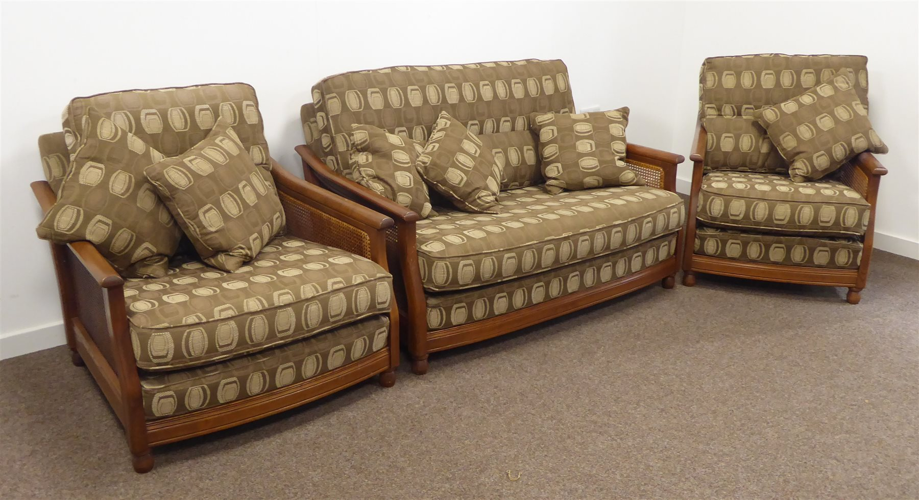 Ercol Elm Bergere Three Piece Lounge Suite Two Seat Sofa
