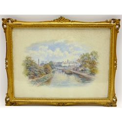 George Fall (British 1848-1925): The River Ouse and York Minster, pair watercolours signed 23cm x 32cm