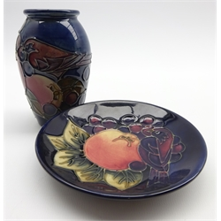 Moorcroft baluster vase in the 'Blue Finch' pattern H10cm and a matching saucer dish D11.5cm