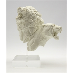 Royal Doulton 'Art is Life' limited edition group of a lion and lioness designed by Alan Maslanowski No. 315/950 on a perspex stand H30cm