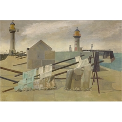 Richard Platt (British 1928-2013): The Harbour Walls, oil on canvas signed and dated '53, 50cm x 75cm