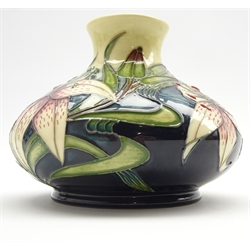 Moorcroft vase of squat circular form in the 'Lilies of the Field' pattern by Rachel Bishop H10cm