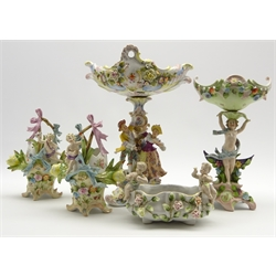 Continental porcelain Comport decorated with applied flowers and figures, etc., 14