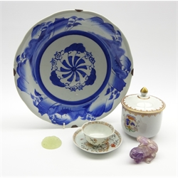 18th Century Chinese eggshell tea bowl and saucer decorated with birds and flowers, Japanese blue and white dish D30cm, amethyst frog,green roundel and an Armorial sugar pot and cover