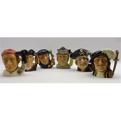 Six Royal Doulton Character jugs: Bootmaker, Night Watchman,Scaramouche, Athos, Gladiator and Long John Silver, all large size