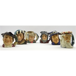 Six Royal Doulton Character jugs: The Falconer, The Poacher, Gulliver, Rip Van Winkle, Neptune and Mine Host, all large size
