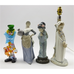 Lladro figure in the form of a Japanese girl H27cm, Nao lamp base, Nao figure and a Murano glass clown