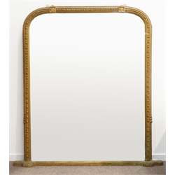Large Victorian giltwood and gesso overmantel mirror, egg and dart and bead surround with leaf motifs, 184cm x 194cm