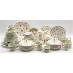 Quantity of Furnivals pink Denmark pattern dinner and tea ware with plates in various sizes, cups and saucers, tea and coffee pot etc 66 pieces