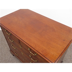 Georgian mahogany chest, moulded rectangular top, two short and three long oak lined drawers, bracket feet, W92cm, H81cm, D52cm