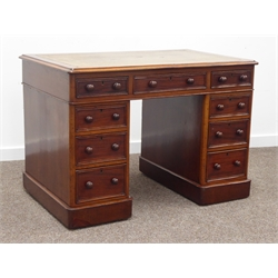 Small Victorian mahogany pedestal twin pedestal desk, leather inset rectangular moulded top with rounded corners, nine drawers, plinth base, 107cm x 69cm, H75cm