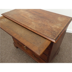 Georgian mahogany bachelors chest, brushing slide above two short and three long graduating drawers, oak lined drawers with scrolled drop handles and cartouche escutcheons, on bracket feet, W86cm, H77cm, D50cm