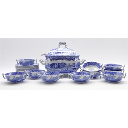 Spode Italian pattern blue and white soup tureen with cover and ladle and 12 two handled soup bowls and stands