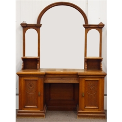 Large late Victorian oak mirror back sideboard, arched mirror back with two bevelled plates either side, reverse break front top with chamfered edge, centre drawer and two panelled cupboards, step moulded plinth base, with carved decoration, W175cm, H232cm, D60cm