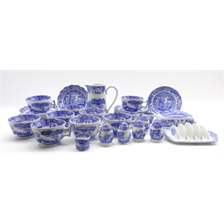 Nine Spode Italian pattern breakfast cups and saucers, butter dish and cover, toast rack, milk jug, condiments etc