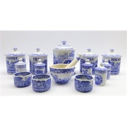 Four Spode Italian pattern named storage jars and covers H15cm, 5 Spode Blue Room spice jars and covers H11cm, Italian pattern pestle and mortar, 3 ramekin dishes and a large storage jar and cover
