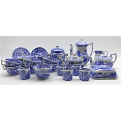 Quantity of Spode Italian pattern tea and coffee ware including 8 tea cups and 9 saucers, coffee pot, 2 tea pots, 6 tea plates, 5 coffee cans butter dish, milk jug and sugar bowl and a biscuit barrel and cover