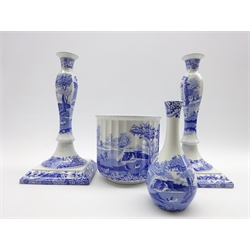 Pair of Spode Italian pattern candlesticks H33cm, a matching jardiniere H17cm and a bottle shape vase H19cm
