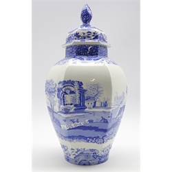 Spode Italian pattern blue and white panel sided vase and cover H40cm