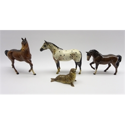 Beswick model of a Stocky Jogging Mare No. 1090, 3rd version, Beswick Appaloosa Stallion No.1772, Beswick seal No. 1534 and a Royal Doulton horse (4)