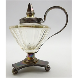Dutch silver mounted faceted glass mustard pot, strap handle & hinged lid on triform base raised on ball feet, H14cm