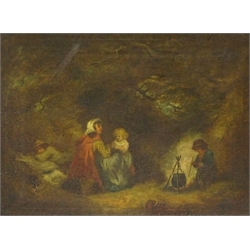 Attrib. George Moreland (British 1763-1804): Gypsy Encampment, oil on canvas unsigned 44cm x 59cm