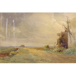Guy Pearson (British 1865-1946): A Country Lane With Windmill, watercolour signed 17cm x 25cm
