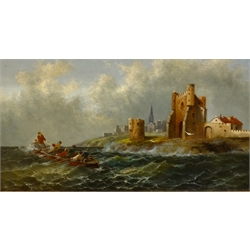 Anton Schoth (German 1859-1906): Unloading on the Shore and Boat in Rough Seas, pair oils on canvas signed 21cm x 39cm