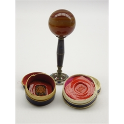 Desk seal with enamel stem and base, inset with a monogram and with agate ball finial H9cm and a number of wax seal impressions