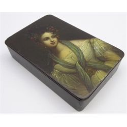 Victorian Stobwasser rectangular papier mache box, the hinged cover painted with a half length portrait of a lady and inscribed on the interior 8.5cm x 5.5cm