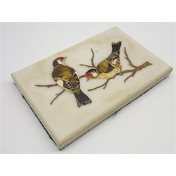 Florentine pietra dura plaque inlaid with birds on a branch in jasper, quartz and other hardstones on a beige marble ground 9cm x 14cm