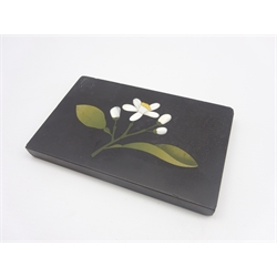 Florentine pietra dura plaque inlaid with a floral design in jasper and other hardstones on a black ground 9cm x 14cm