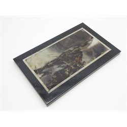 Pietra dura plaque inlaid with marble, quartz etc depicting a storm scene 11cm x 17cm