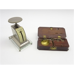 Set of 19th Century travelling balance scales by P Charpentier of Paris complete with weights in original mahogany case L13cm and a pair of letter sc