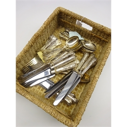 Quantity of  Kings pattern table cutlery comprising 14 table knives, 10 table forks, 5 dessert knives and 21 dessert spoons