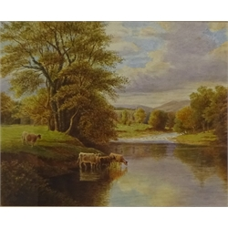 John Cecil Lund (British 1932-): Bolton Abbey and the River Wharfe, pair watercolours signed with monogram and titled 25cm x 30cm