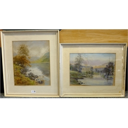 E C Clark (British late 20th century): River Landscapes, two pastels signed, one dated 1990, max 37cm x 30cm