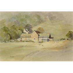 David Rust (British 1963-): 'Farm Group in the Vale of Ewyas', watercolour signed, titled verso 22cm x 32cm