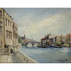 Colin Russell (British 1932-2009): 'Guildhall and Ouse Bridge' York, oil on board signed, titled verso