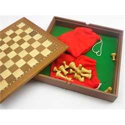 Jaques, London wooden chess board with lined box base 37cm and a stained chess set.  Height of Kings 8cm
