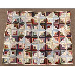 Patchwork quilt in Log Cabin design 170cm x 135cm