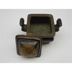 Chinese bronze censer of square form with angular handles and 4 shaped supports and associated cover, with 6 character Xuande seal mark to base 8cm x 8cm
