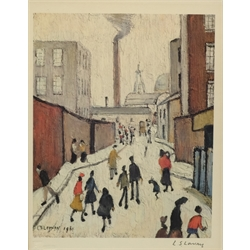 After Laurence Stephen Lowry RA (British 1887-1976): Street Scene with a Factory Beyond, colour reproduction signed in pencil with Fine Art Trade Guild blindstamp 30cm x 23cm