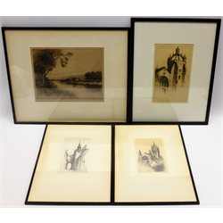 Henry Jackson Simpson (Scottish 1893-1963): 'King's College Aberdeen', 'Marischal College', 'Lodge Walk' and 'The Del at Calton', four drypoint etchi