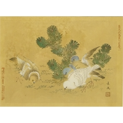 Japanese School (19th Century): Birds Pecking the Ground, woodblock print signed with character signature 19cm x 26cm
