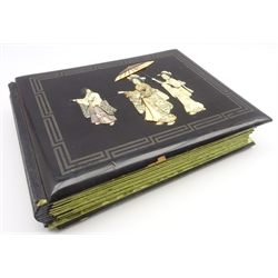 Japanese Meiji period Shibayama inlaid album containing colour prints illustrating the work of various Japanese artists, each titled with the artist'