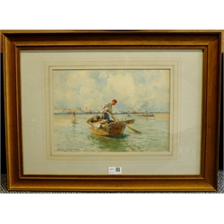 Edward Aubrey Hunt (American 1855-1922): Moroccan Fisherman, watercolour signed 24cm x 34cm